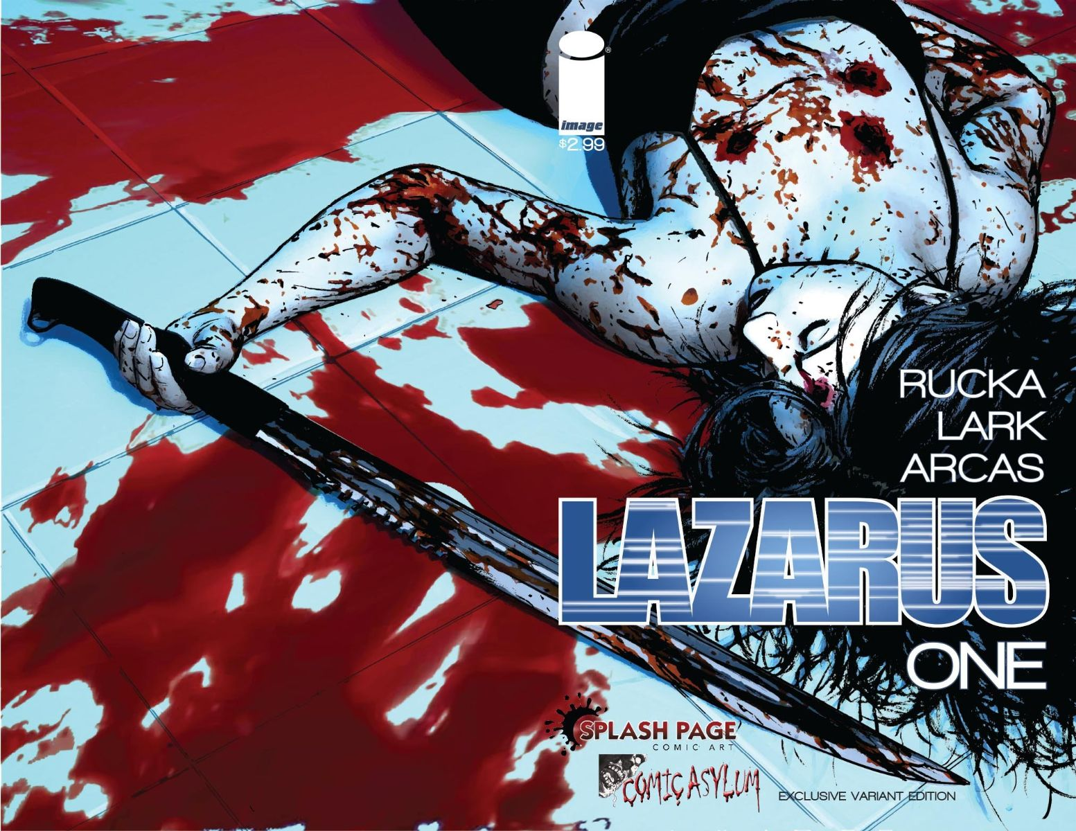 Splash Page Comic Art & Comic Asylum Retailer Variant of Lazarus Issue 1